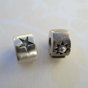 set of 2 Chamilia Star Stopper Charm 925 clips